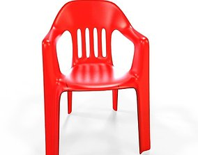 3D model VR / AR ready plastic chair