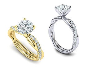 gorgeous rope style twisted engagement ring 3dmodel N0335