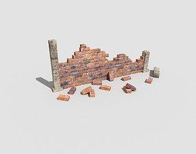 3D asset low poly broken wall