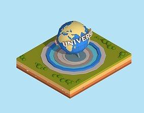 Cartoon Low Poly Universal Studio Globe Landmark 3D asset