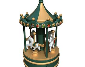 Vintage Wooden Carousel 3D