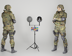 Fully equipped soldier checking time 264 3D asset
