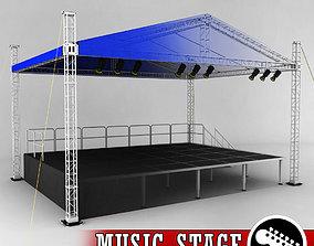 3D model Music stage platform scaffolding light