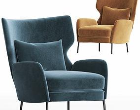 Alex Navy Blue Velvet Accent Chair Crateandbarrel 3D