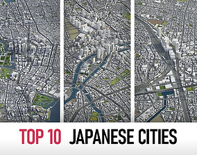 3D model Top 10 Japanese Cities