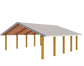 Wooden shelter 02 3D model