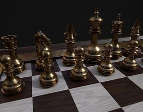 3D asset Chess set and board