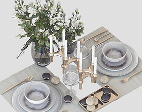 3D model Tableware with roses