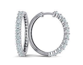 Hoop Diamond Earrings 3dmodel 21mm size