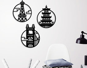 CITY ICON WALL DECORATION signs-logos 3D printable model