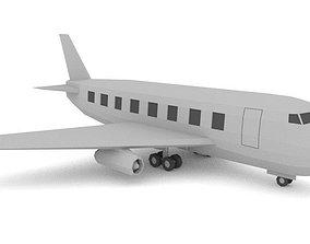Commercial Plane Low Poly 3D asset
