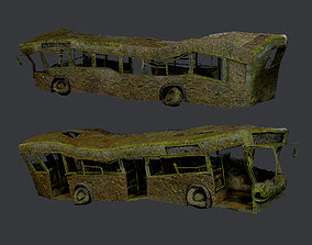 3D asset Apocalyptic Damaged Destroyed Vehicle Bus Game 1