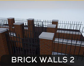 Modular Brick Wall and Gate 3D model