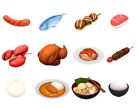 emoji 3D model Cartoon Food Pack 2
