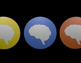 3D model Low poly brain symbol 1