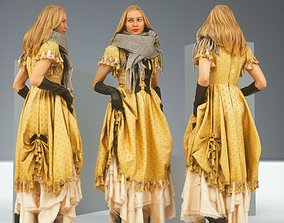 3D asset Blond Model in Princess Dress and Leather