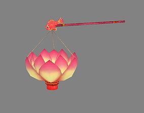 3D asset Festive lantern - Lotus Paper Lantern - Candle