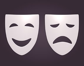Theater Mask 3D asset low-poly