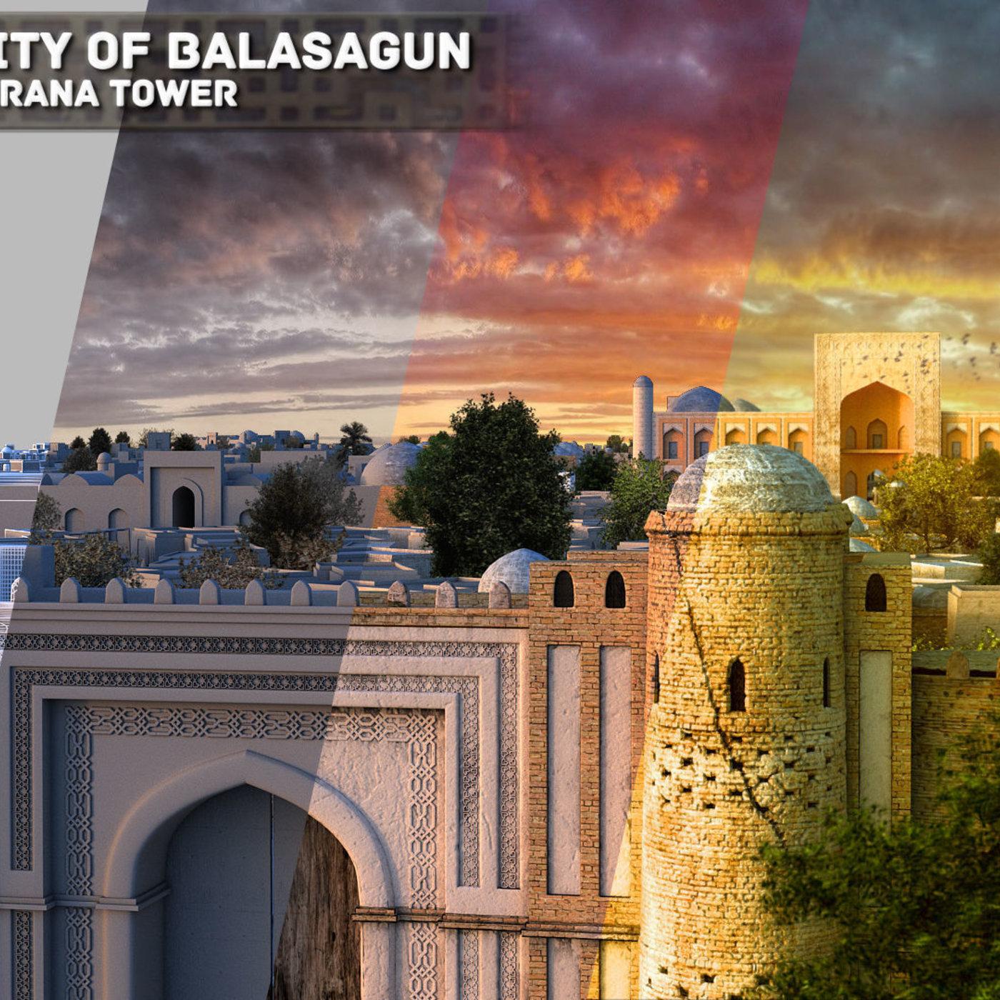 City of Balasagun and Burana tower - artist's reconstruction.