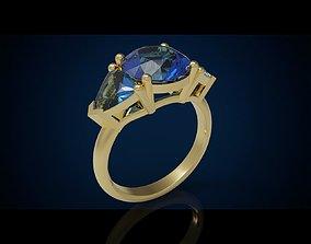 Three gemstone ring Cg 3 1 3D print model