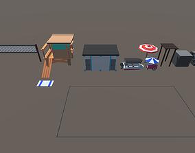 Low Poly Beach Pack 3D asset