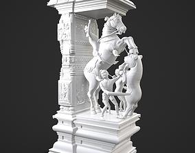 Traditional Scene Decorative Pillar High Poly Model