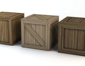 3 Wooden Crates 3D asset