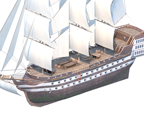 Line Warship 80 cannons 3D asset