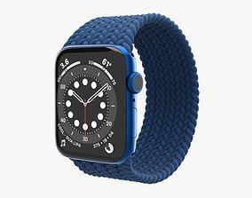 3D model Apple Watch Series 6 braided solo loop blue
