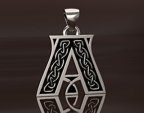 Letter pendant 1 with celtic pattern 3D printable model