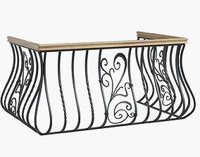 3D model metal forged balcony railing