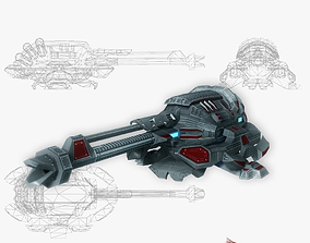Blaster cannon 04 sci-fi low poly 3D asset