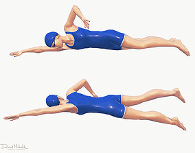 3D asset animated Female Swimming Classic Style