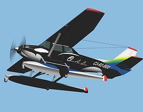 3D model Sea Plane Ocean Air Line