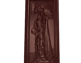 Man with owl Bas relief for CNC 3D printable model