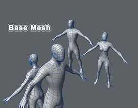 Base Mesh Male and Female 3D model game-ready