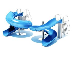 Large Blue Water Slides 3D model