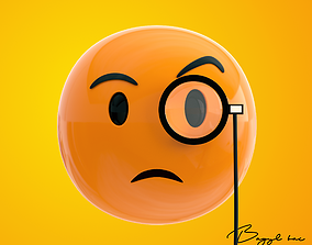 3D model Emoji Face with Monocle