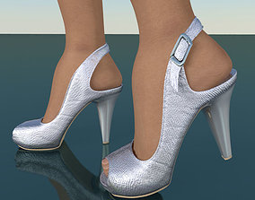 Silver heeled shoes low poly 3D model