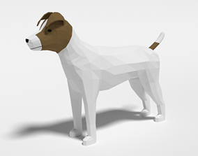 Low Poly Cartoon Jack Russell Terrier Dog 3D model