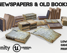 3D model Newspapers and old books