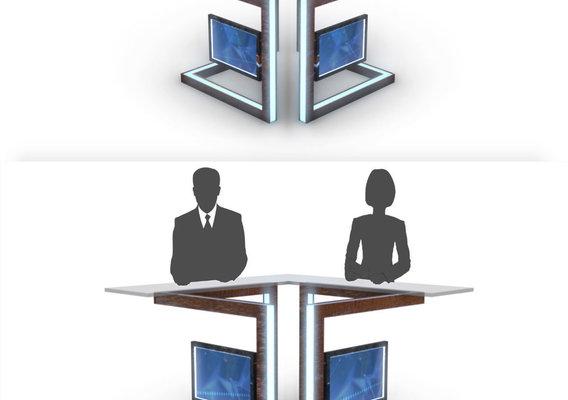 3D TV Studio News Desk 3