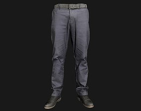 Male outfit set Pants and Shoes low poly 3D asset