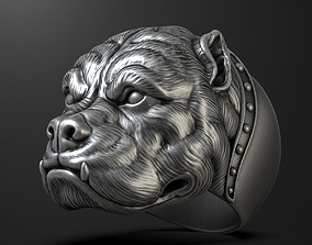 3D print model Pitbull dog head ring