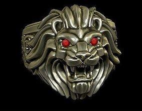 3D print model LION RING - stone setting