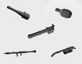 Five firearms 3D printable model