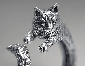 High detailed cat ring 3D printable model