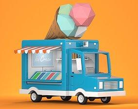 3D asset animated Ice Cream Truck