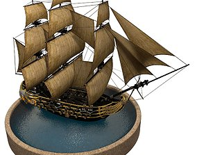 Pirate Ship 3D asset animated