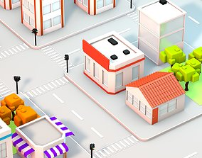 road 3D asset realtime Low Poly City